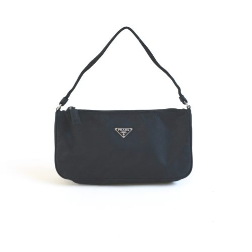 Prada Nylon Shoulder Baguette Bag in Black | NITRYL