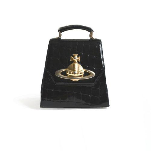 Vivienne Westwood Faux Croc Top Handle Gold Orb Bag | NITRYL