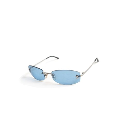Vintage Chanel Rimless Sunglasses in Blue | NITRYL