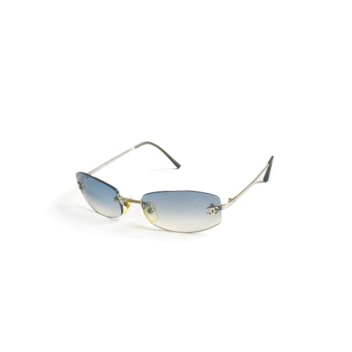 Vintage Authentic Chanel Ombre Tinted Sunglasses in Baby Blue | NITRYL