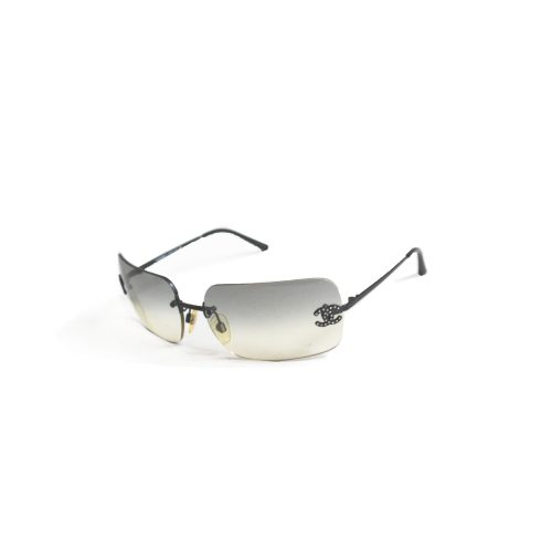 Vintage Chanel Diamante Rimless Sunglasses in Ombre Grey | NITRYL