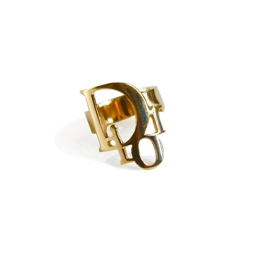 Vintage Dior Logo Ring in Gold | NITRYL