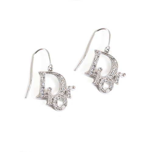 Vintage Dior Diamante Logo Earrings in Silver | NITRYL
