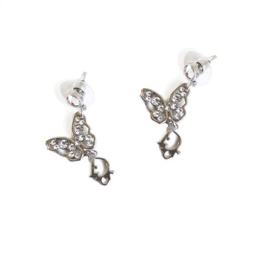Vintage Dior Diamante Butterfly Logo Earrings in Silver | NITRYL