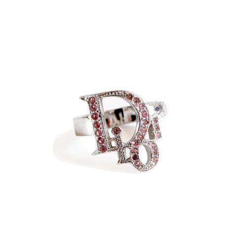 Vintage Dior Pink Diamante Logo Ring in Silver   NITRYL
