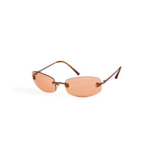 Vintage Chanel Tinted Rimless Sunglasses in Orange | NITRYL
