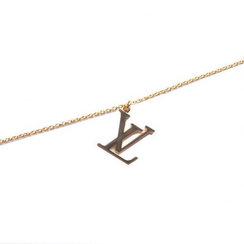 Reworked Louis Vuitton Gold Logo Chain Necklace   NITRYL