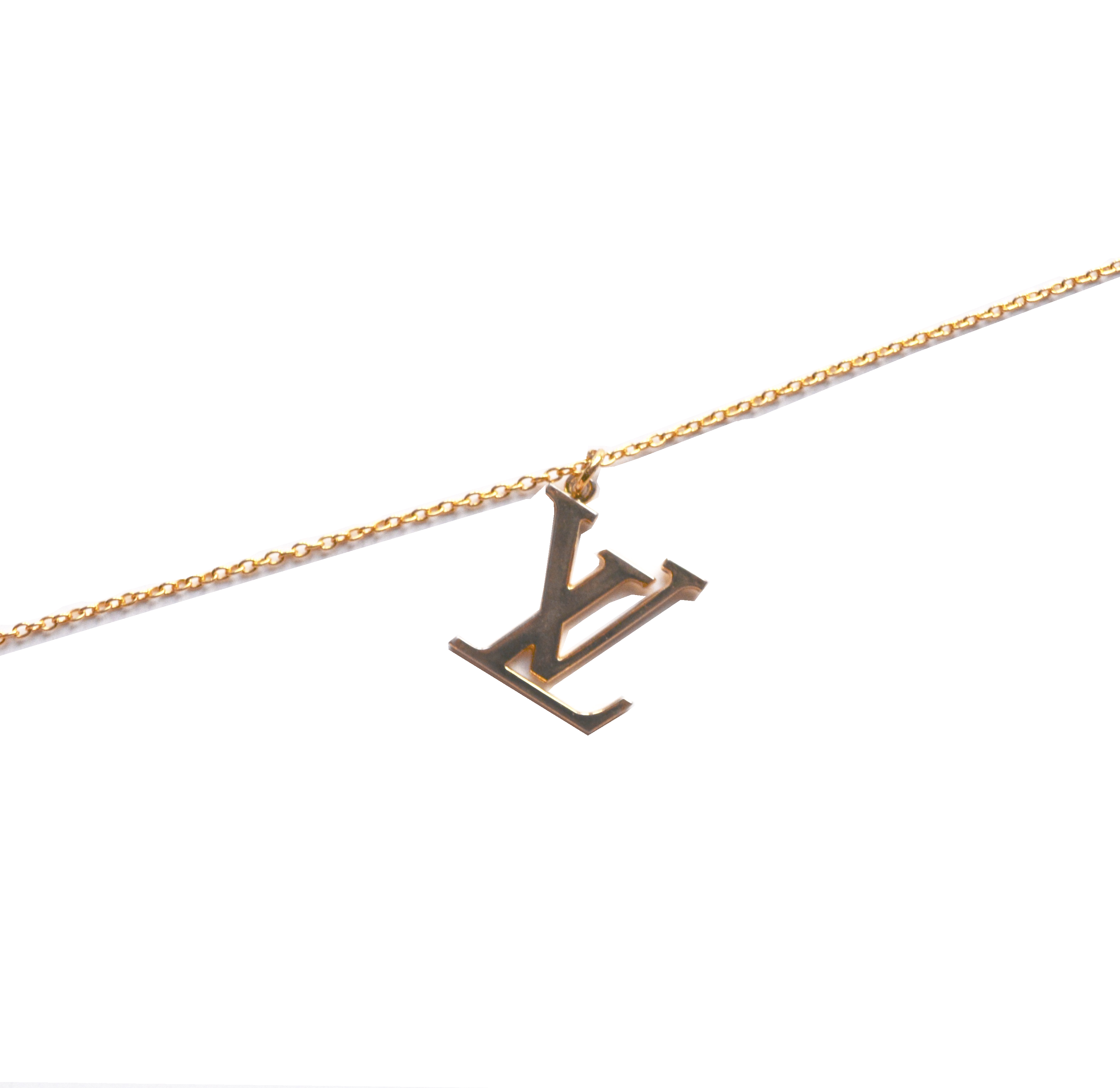 Reworked Louis Vuitton Gold Logo Chain Necklace | NITRYL