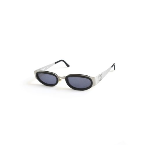 Vintage Chanel Oval Sunglasses in Silver / Black | NITRYL