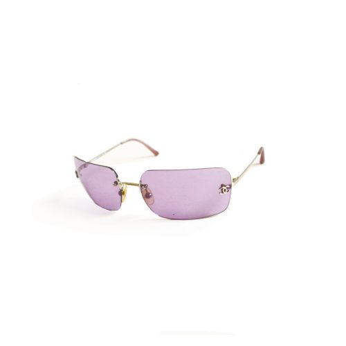 Vintage Chanel Ombre Rimless Sunglasses in Orange in Lilac Purple | NITRYL
