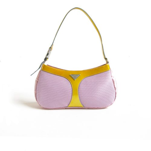 Vintage Rare Prada Satin Shoulder Bag in Baby Pink | NITRYL