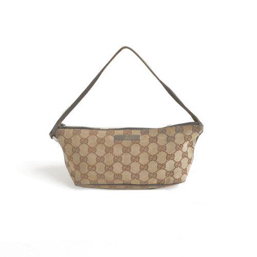 Vintage Gucci Monogram Mini Baguette Bag in Beige | NITRYL