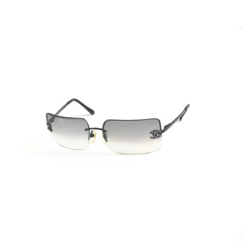 Vintage Chanel Diamante Rimless Ombre Sunglasses in Grey | NITRYL