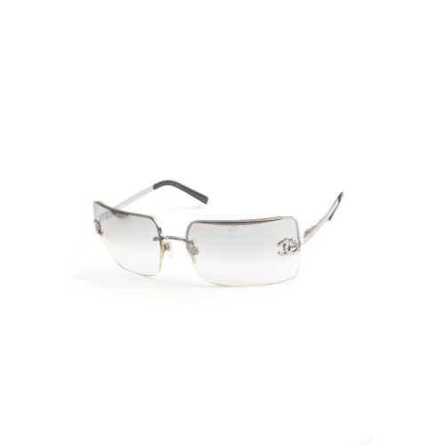 Vintage Chanel Diamante Rimless Ombre Sunglasses in Silver | NITRYL