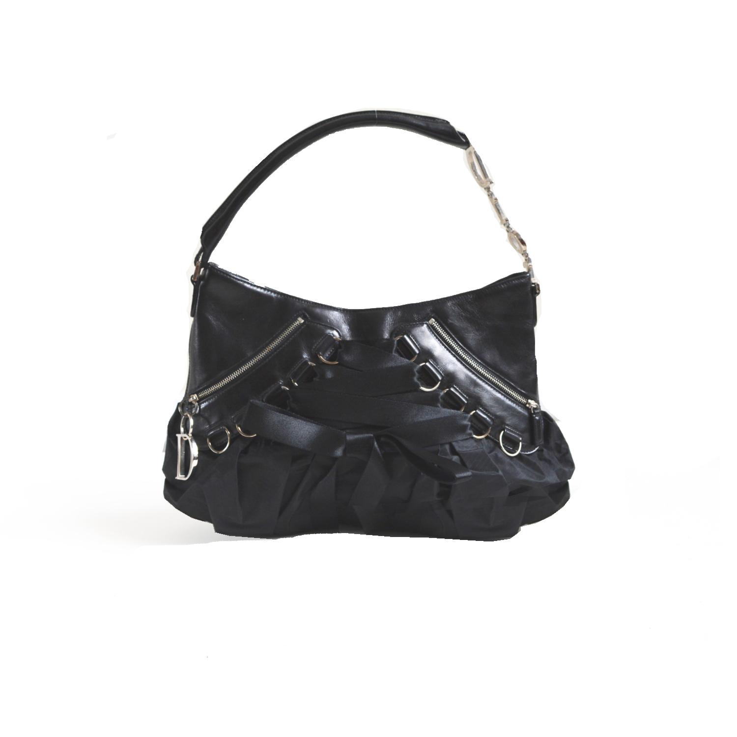 Vintage Dior Corset Lace Up Shoulder Bag with Spellout Strap in Black   NITRYL