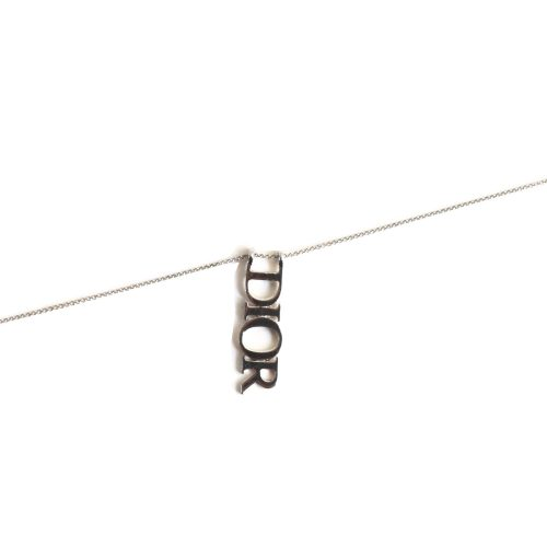 Dior Spellout Logo Necklace in Silver | NITRYL