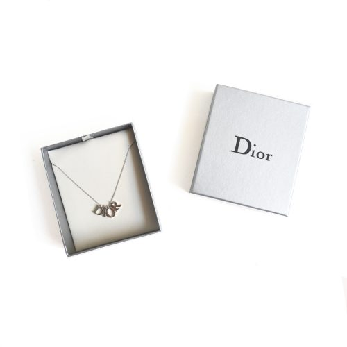 Vintage Dior Spellout Logo Necklace in Silver with Box | NITRYL