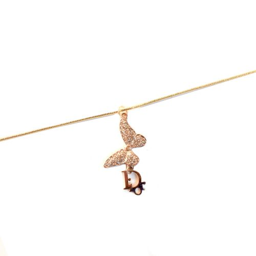Vintage Dior Diamante Butterfly Necklace in Gold | NITRYL