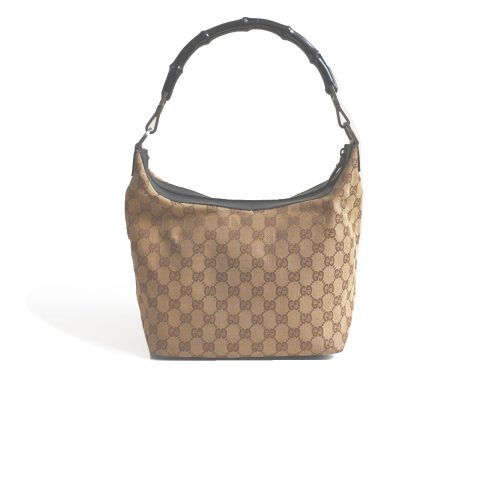 Vintage Gucci Monogram Shoulder Bag with Bamboo Strap | NITRYL