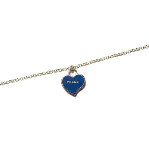 Vintage Reworked Prada Heart Charm Logo Necklace in Silver | NITRYL