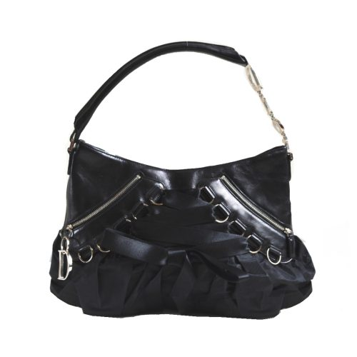 Vintage Dior Corset Lace Up Shoulder Bag with Spellout Strap in Black | NITRYL