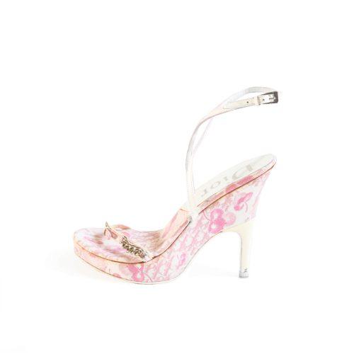 Vintage Dior Girly Cherry Blossom Monogram Platform Sandals UK 4 | NITRYL