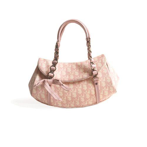 Vintage Dior Monogram Shoulder Bag in Pink | NITRYL