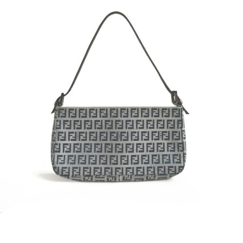 Vintage Fendi Zucchino Baguette Shoulder Bag in Navy and Grey | NITRYL