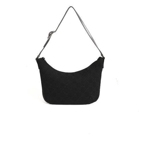 Vintage Gucci Monogram Crescent Mini Bag in Black | NITRYL