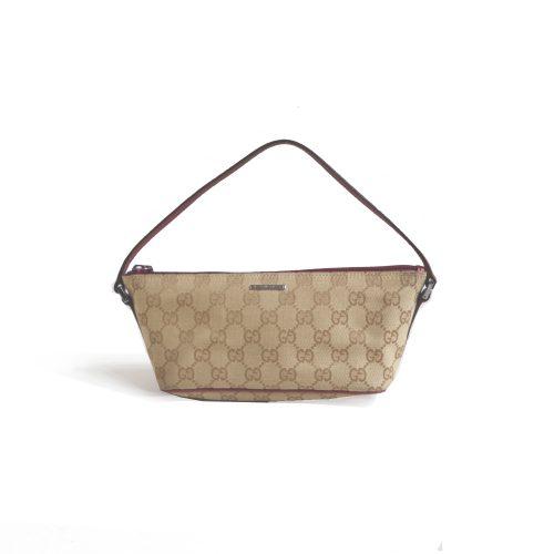 Vintage Gucci Monogram Mini Baguette Bag in Beige And Maroon | NITRYL