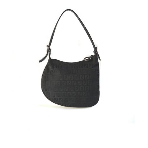 Vintage Fendi Zucchino Saddle Shoulder Bag in Black | NITRYL