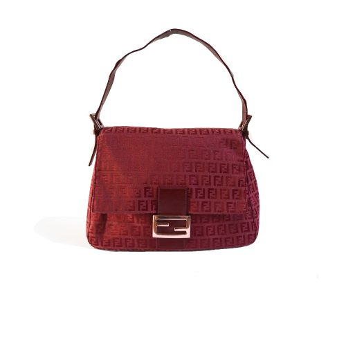 Vintage Fendi Zucchino Mama Baguette in Red with Rose Gold Hardware | NITRYL