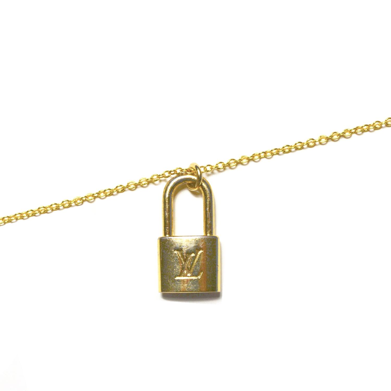 Vintage Reworked Louis Vuitton Padlock Logo Charm Necklace in Gold | NITRYL