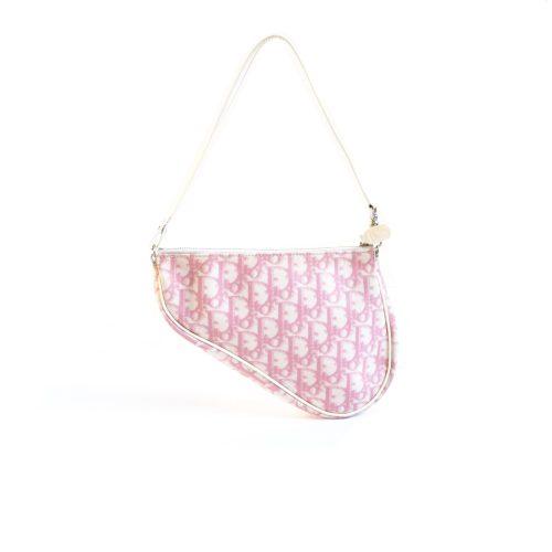 Vintage Dior Trotter Saddle Bag in Baby Pink | NITRYL