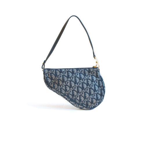 Vintage Dior Trotter Saddle Bag in Navy Blue | NITRYL