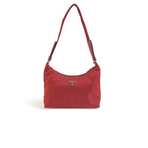 Vintage Prada Nylon Shoulder Bag in Burgundy Red | NITRYL