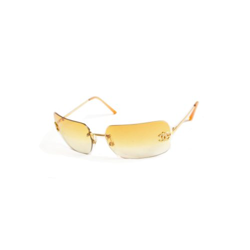 Vintage Chanel Diamante Rimless Ombre Sunglasses in Yellow | NITRYL