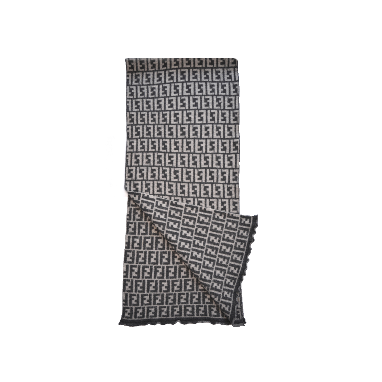 Vintage Fendi Zucca Monogram Wool Scarf in Grey | NITRYL