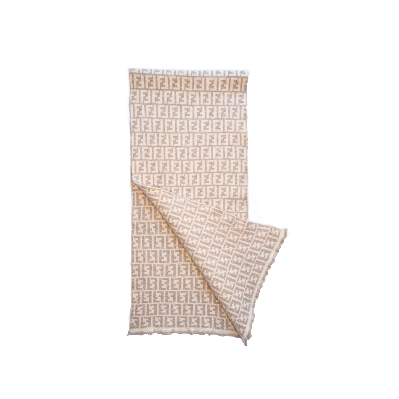 Vintage Fendi Zucca Monogram Wool Scarf in Beige | NITRYL