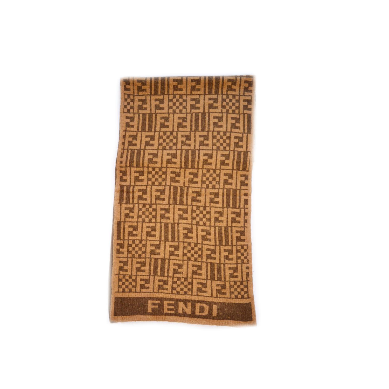 Vintage Fendi Zucca Monogram Wool Scarf in Brown | NITRYL