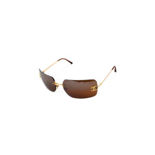 Vintage Chanel Diamante Rimless Gold Sunglasses in Brown | NITRYL