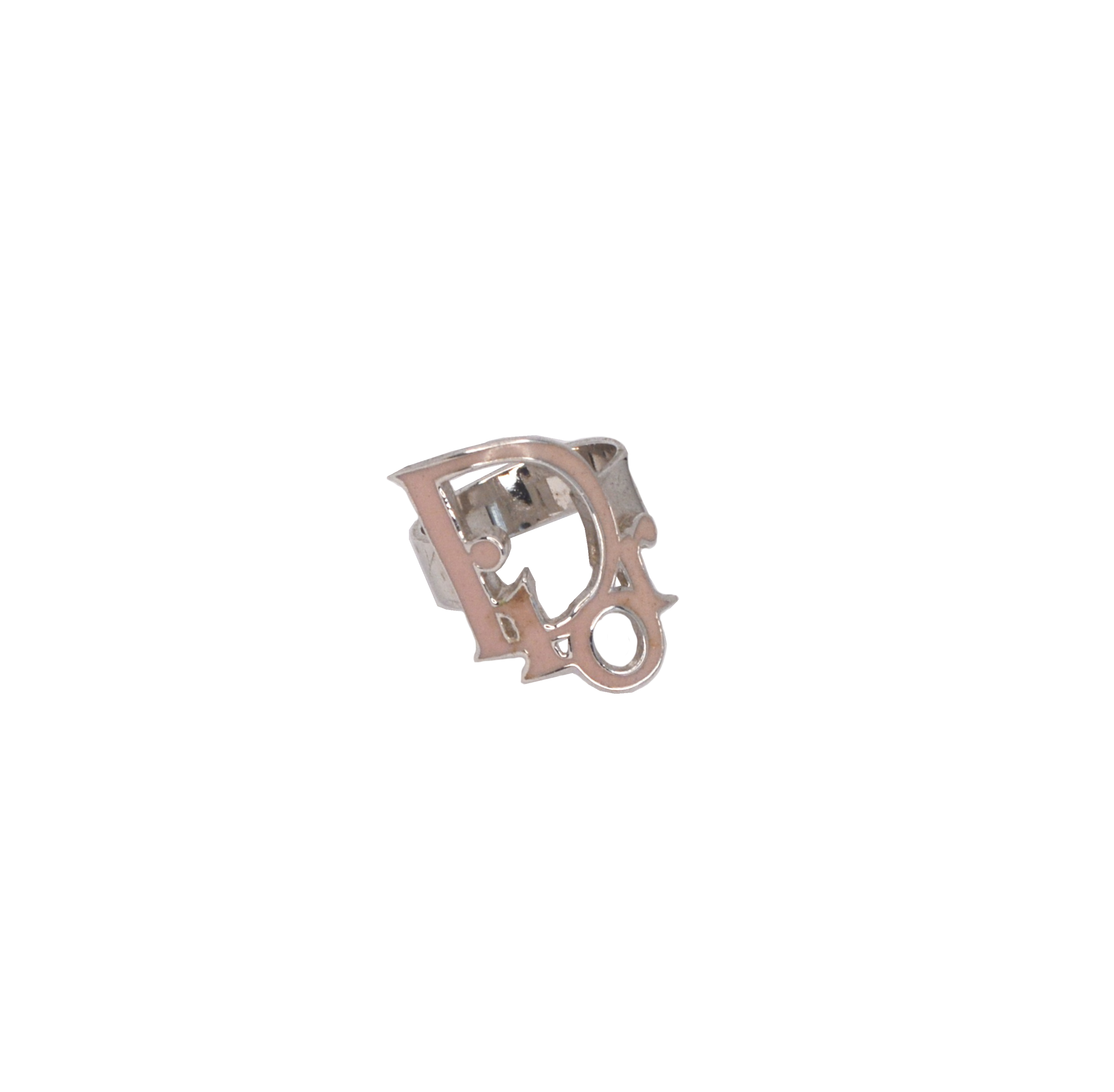 Vintage Dior Enamel Monogram Ring in Silver and Baby Pink | NITRYL