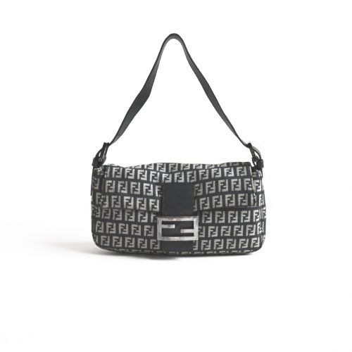 Vintage Fendi Zucchino Flap Baguette Bag in Black & Grey | NITRYL
