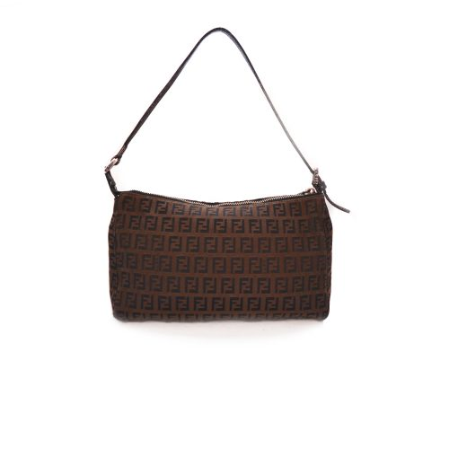 Vintage Fendi Zucchino Baguette Shoulder Bag in Brown and Black | NITRYL