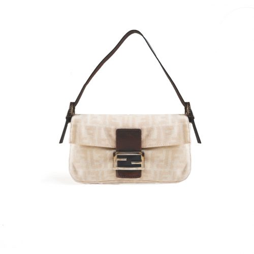 Vintage Fendi Zucca Flap Baguette Bag in Cream | NITRYL