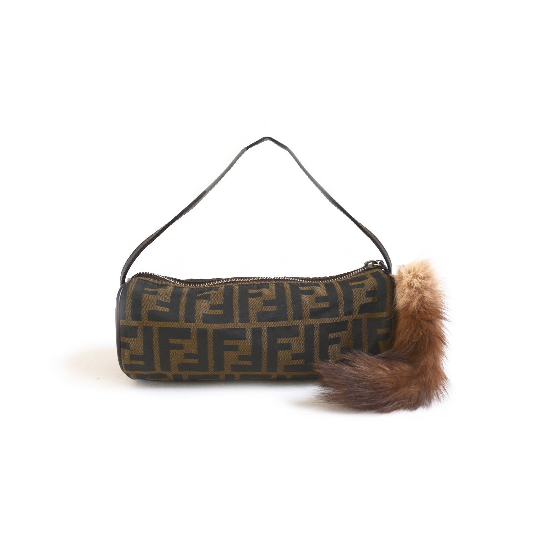 Vintage Rare Fendi Mini Zucca Baguette Bag with Fur Charm | NITRYL