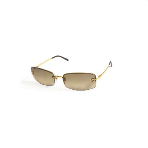 Vintage Chanel Rimless Tinted Diamante Gold Sunglasses in Brown | NITRYL