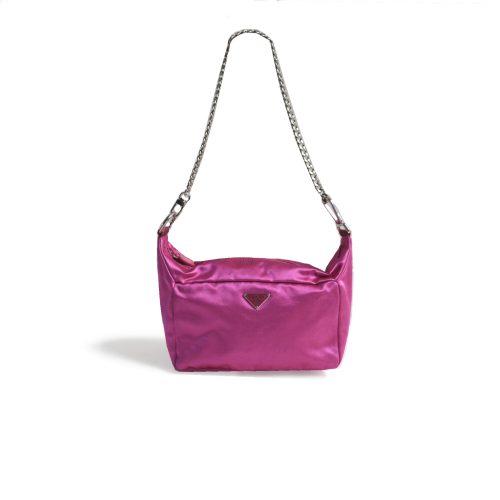 Vintage Prada Satin Mini Shoulder Bag in Pink | NITRYL