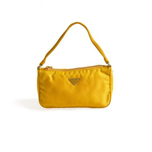 Authentic Vintage Prada Nylon Shoulder Mini Bag in Yellow | NITRYL