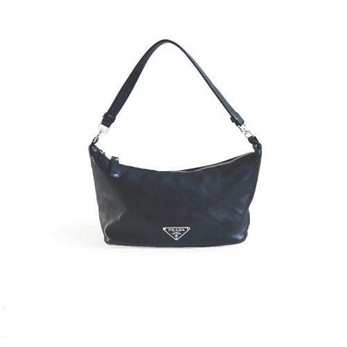 Vintage Prada Leather Shoulder Mini Baguette Bag in Black | NITRYL